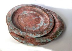 Moroccan wall hanging copper plate. Verdigris patina. Engraved copper. Decorative ornate copper plate. Vintage.