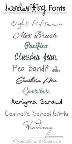 Best free handwriting fonts. by LFA