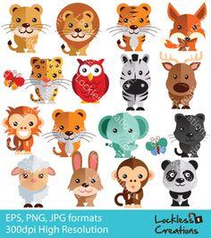 Cute & Wild Animals Digital Clip Art (Instant Download)