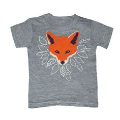 KIDS TODDLER / Fox - T-shirt Boy Girl Youth Children Tee Shirt Cute Adorable Forest Nature Orange Wolf Animal Tshirt - Grey - Sizes 2 4 6. $20.00, via Etsy.