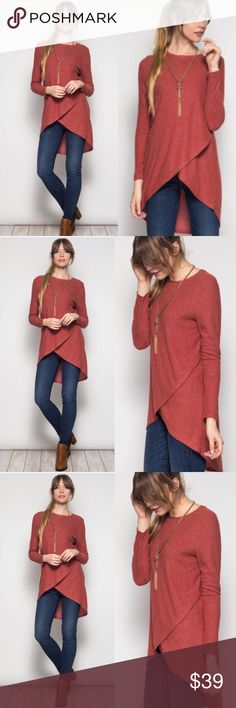 ❣️NEW IN❣️Beautiful Rust Color Tulip Cut Tunic Top Super chic and perfect color for the season! Brand new. Sizes S M L and runs true to women's sizing. Tops Tunics