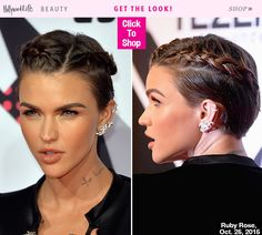 Ruby Rose shut down the red carpet at the 2015 MTV EMAs with her double French braid hairstyle and bold brows-nude lip combo. Get the expert how-to on creating the style on short hair like Ruby's.