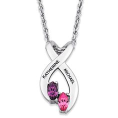 Sterling Silver Marquise Birthstone Twisted Swirl Pendant Necklace. Sale price: $95.00