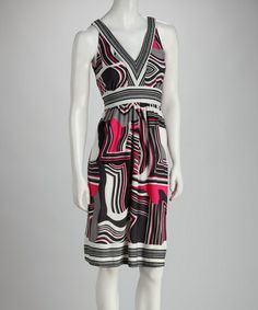 Take a look at this Pink & Gray Abstract V-Neck Dress by Ice Silk on #zulily today!