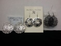 Lot of 3 pair pierced ear round hand made & painted floral & filigree sets-NEW  | eBay