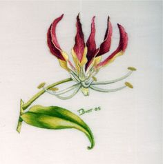 Flame Lily by Trish Burr Hand Embroidery Flowers, Hand Embroidery Patterns, Ribbon Embroidery, Embroidery Thread, Floral Embroidery, Thread Painting, Fabric Painting, Jacobean Embroidery, Cross Stitch Art