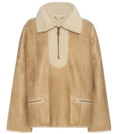 Buy it now. Shearling-lined Bomber Jacket. Brown And Beige Shearling-lined Bomber Jacket By Chloé , chaquetabomber, bómber, bombers, elbowdiamond, baseball. Beige CHLOÉ  bomber jacket  for woman.