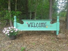 Footboard repurposed into a welcome sign for the yard. If ever I have my own antique refurbished store this is what I would have for a welcome sign! Driveway Sign, Driveway Entrance, Driveway Ideas, Furniture Projects, Wood Projects, Diy Furniture, Repurposed Items, Upcycled Crafts, Porch Signs