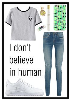 """""""#344 alien"""" by xjet1998x ❤ liked on Polyvore featuring Chicnova Fashion, Yves Saint Laurent, NIKE, Casetify, Thierry Mugler and My Flash Trash"""