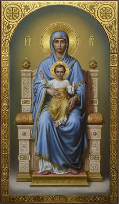 Theotokos on the throne, academic icon Religious Images, Religious Icons, Religious Art, Blessed Mother Mary, Blessed Virgin Mary, Religion, Virgin Mary Art, Catholic Pictures, Images Of Mary