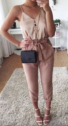 awesome spring outfit / blouse + bag + blush pants + heels