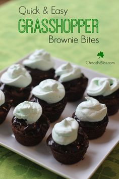 This quick & easy Grasshopper Brownie Bites recipe uses shortcuts for ...