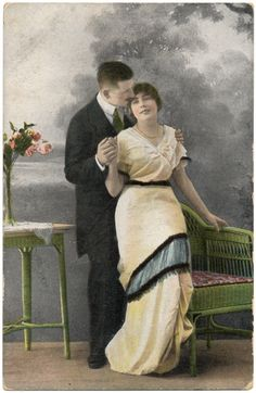 This is a late Edwardian Era postcard of a romantic couple. Its 3.5 x 5.5 and the condition is good although there is some wear along the