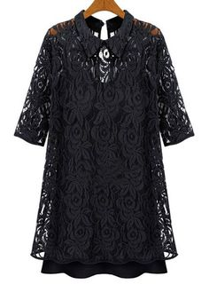 Chic Black Half Sleeve Two Pieces Dress for Woman