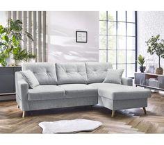 Canapé D'angle Droit Convertible 4 Places Sweden - Tissu Gris Clair - Canapé BUT Angles, Canapé Angle Convertible, Oui, Mousse, Furniture, Sweden, Home Decor, Grey Fabric, Arredamento