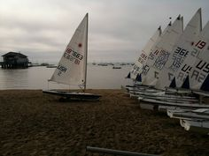 The sailboats lined up for an early morning sail - Crystal Beach, Fort Erie, CA