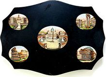 Antique Grand Tour Micro Mosaic Plaque, 5 Views of Rome - Extra large paperweight, superb micromosaics!