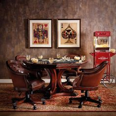 Edison Game Table and Set of Four Chairs