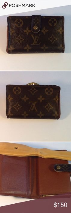 Authentic Louis Vuitton Porte Monaire Brown Wallet Leather had some curling inside the money pocket due to folding. The canvas is good condition. The wallet was made in France with a date code TH 0064. The dimension is 3.5, 5.5 and 1. Louis Vuitton Accessories