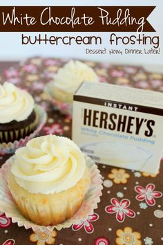 Dessert Now, Dinner Later! White Chocolate Pudding Buttercream Frosting- smooth velvety, yet durable holds its shape. It uses less powdered sugar, while adding flavor to your frosting. Check out the website to see Cupcake Recipes, Baking Recipes, Cupcake Cakes, Dessert Recipes, Instant Pudding, Just Desserts, Delicious Desserts, Gourmet Desserts, Health Desserts