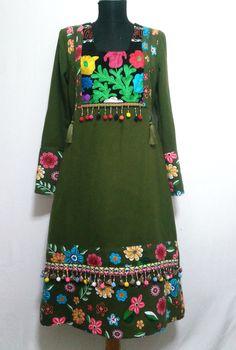 Otantik-etnik haki elbise