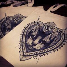 Cool cat tattoo design by Becca at Tiny Miss Becca Tattoo. UK Tattoo Scene.