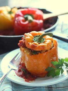 Millet Falafel Stuffed Peppers in Spicy Tomato Sauce