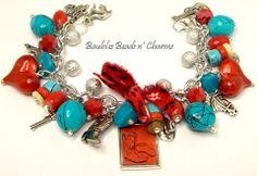 Cowboy Cowgirl Charm Bracelet Jewelry by baublesbeadsncharms, $28.88