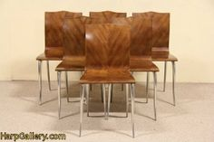 Set of 6 Danish Midcentury Modern Walnut & Aluminum Vintage Dining Chairs - Harp Gallery Antique Furniture