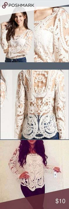 ✨Stunning White Lace Top  NWOT... This gorgeous long sleeve is so incredibly marvelous!! This jaw-dropping top will most definitely turn heads, that's for sure! I have never worn this because it is too big on me . I've only tried it on and it is not itchy or uncomfortable at all! Will be an absolute beauty of an addition to your closet  Tops