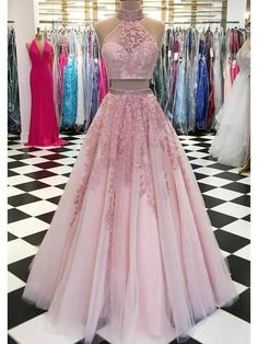 Customized Morden Evening Dress Long, Prom Dress Pink, Prom Dress Two Piece, Prom Dress Lace Prom Dress Two Piece, Two Piece Evening Dresses, Evening Dress Long, Lace Evening Dresses, Elegant Dresses, Evening Party, Evening Gowns, Two Piece Gown, Two Piece Quinceanera Dresses
