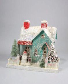 Retro Putz Christmas House with Snowman