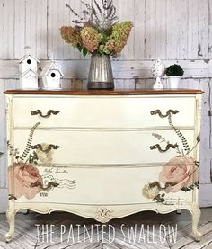 This pretty dresser was painted using Debi's Design Diary DIY Paint in Crinoline, with transfers from ReDesign with Prima! Enjoy!