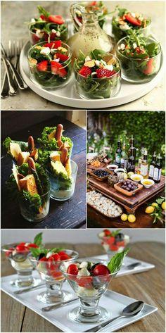 Muito legal a idéia de servir salada individualizada (porções) como entrada em taças ou potes de sobremesas, copos... Bem legal!