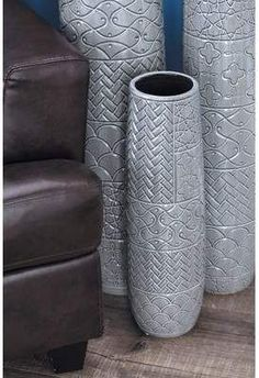 Litton Lane 22 in. Contemporary Engraved Glazed Gray Decorative Vase 59948 - The Home Depot Vinyl Flooring, Ceramic Flooring, Penny Flooring, White Flooring, Unique Flooring, Terrazzo Flooring, Cork Flooring, Linoleum Flooring, Basement Flooring