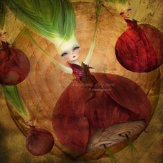 """Red/Purple Onion Girl Print """"Layers"""" by Jessica Grundy"""
