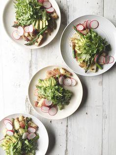 Warm Shallot Butter Roasted Potato Salad With Avocado, Radish, Bacon, And Arugula recipe by Lyndsey Eden Roasted Avocado, Kale Avocado Salad, Roasted Potato Salads, Kale Quinoa Salad, Asparagus Salad, Arugula Salad, Roasted Potatoes, Ham Salad, Easy Salads