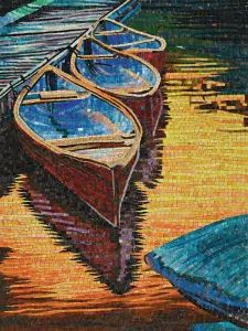 Boat and River Hand-Cut Crystal Art Mosaic (CFD148) Jade Crystal, Mosaic Patterns, Mosaic Art, Wooden Boxes, Color Mixing, Underwater, Boat, River, Crystals