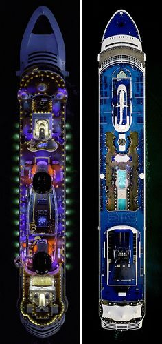 A photographer has released images that show in fascinating detail a bird's eye view of the decks of some of the world's largest cruise ships