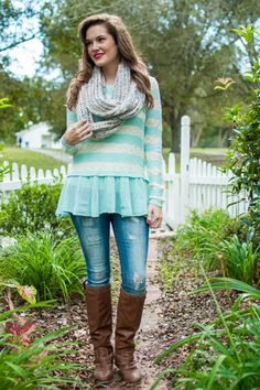 How precious is this mint and white sweater!? From the chunky stripes to the faux tu-tu, this piece is too adorable for words!
