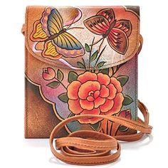 Sac en cuir peint main - Anuschka Hand Painted Leather Hanging French Purse