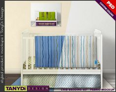 Crib Bedding Photoshop Fabric Mockup 3CBS2 White crib Full