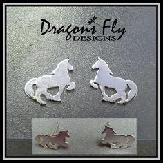 Horse Earrings Studs Posts Earrings Sterling by DragonsFlyDesigns