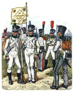 Fusiliers battalion Lippe 1809-13. From left to right: Minesweeper (1809), (1809) fusilier, fusilier (1810), Ensign (1812), Sergeant grenadier (1812), Lieutenant grenadier (1812), fusilier (1812). Fig. R. Knotel.
