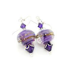 Purple Earrings Lampwork Earrings Glass Earrings by BeadzandMore