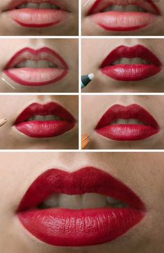 9 Everyday Makeup Tutorials for Every Girl: Lips outlined with thick lip liner and filled with red lipstick, concealer to line outer lips Everyday Makeup Tutorials, Makeup Tips For Beginners, Beginner Makeup, How To Apply Lipstick, How To Apply Makeup, Applying Lipstick, Applying Makeup, Perfect Red Lips, Perfect Lipstick