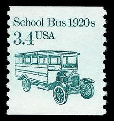 3.4 School Bus single, 1985 - 1987 via @Postal Museum
