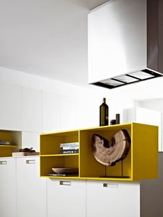 Laminate #kitchen with peninsula KORA 06 by Cesar Arredamenti | #design Gian Vittorio Plazzogna #yellow @cesarcucine