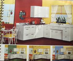 """1941 Sherwin Williams™ Paint and Color Style Guide. Featuring Crane™ sink and steel cabinets to go with. That's the Kitchen Queen™ model sink and base cabinet ~ billed as """"America's Finest Sink""""!! I love the colors in all the photos provided, but especially the large photo and the bottom right with the light blue and yellow."""
