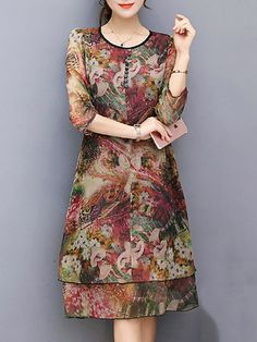 Vintage Floral Printed Sleeves Fake Two Pieces Dresses Simple Dresses, Beautiful Dresses, Casual Cocktail Dress, Moda Chic, Dress Shirts For Women, Mode Hijab, Draped Dress, Two Piece Dress, Pakistani Dresses